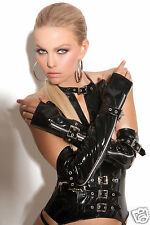 Elegant Moments Fingerless Vinyl Gloves with Zipper and Buckle Detail