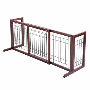 Wood-Dog-Gate-Adjustable-Indoor-Solid-Construction-Pet-Fence-Playpen-Free-Stand