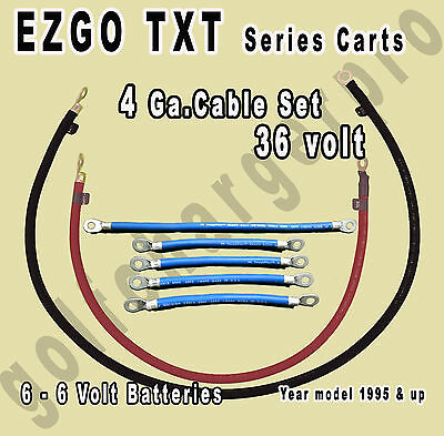 ezgo wiring diagram for 36 volt 1995 ezgo txt golf cart 36 volt 4 gauge heavy duty battery cable wiring  ezgo txt golf cart 36 volt 4 gauge