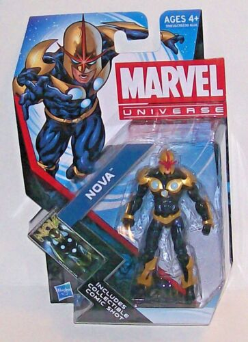 MARVEL UNIVERSE SERIES SUPERHERO NOVA ACTION FIGURE INCLUDES COMIC SHOT HASBRO