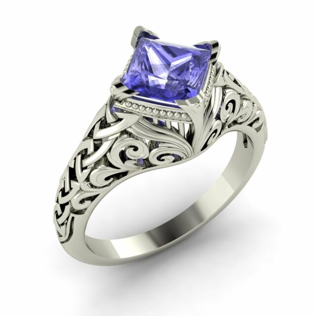 Certified Tanzanite Antique Vintage Look Engagement Ring Sterling Silver-0.70 Ct