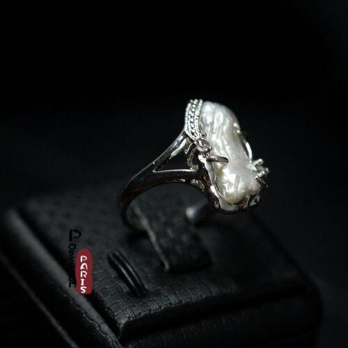 Bague Perle de Culture Nacre Baroque Gros Blanche Vintage Retro Unique Belle T56