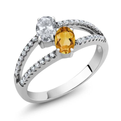 1.31 Ct Oval White Topaz Yellow Citrine Two Stone 925 Sterling Silver Ring
