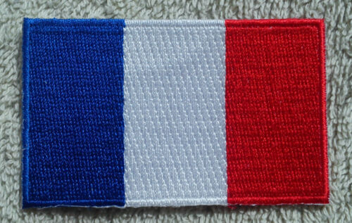 FRANCE FLAG PATCH Embroidered Badge Iron Sew on 3.8cm x 6cm Français French NEW