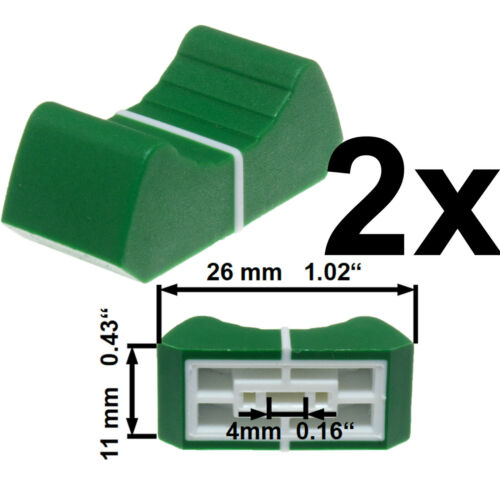 2x PROFESSIONAL FADER KNOBs CAP GREEN 4mm slider potentiometer replacement pot