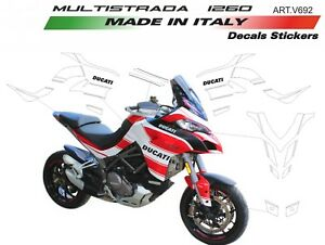 Details About Stickers Kit For Ducati Multistrada 1260 Design Customized White