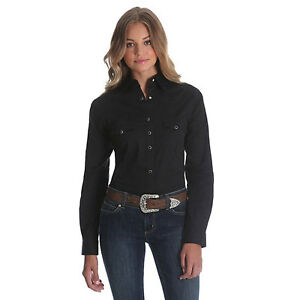 413673100d3e Details about LW1002X Wrangler Women s Western Fashion Long Sleeve Solid  Top - Black NEW