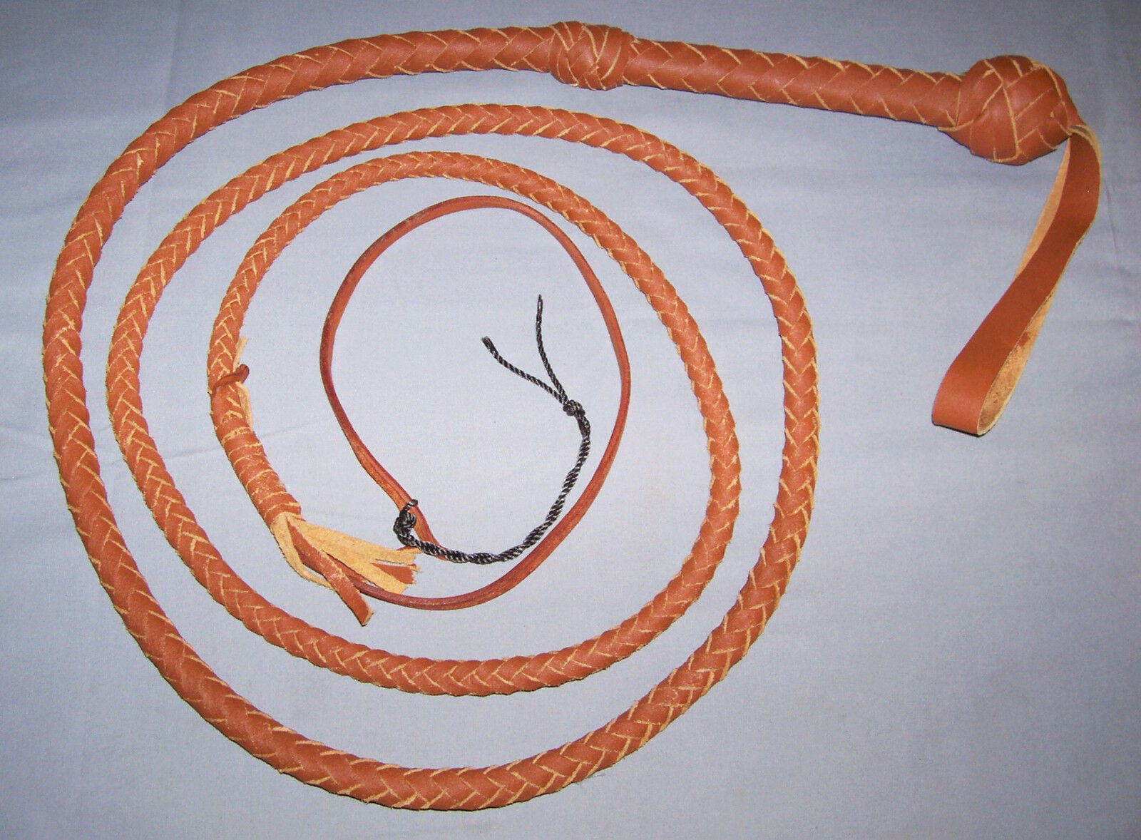 8 foot 8 plait TAN Real LEATHER BULLWHIP INDIANA JONES STYLE (Real bull whip)