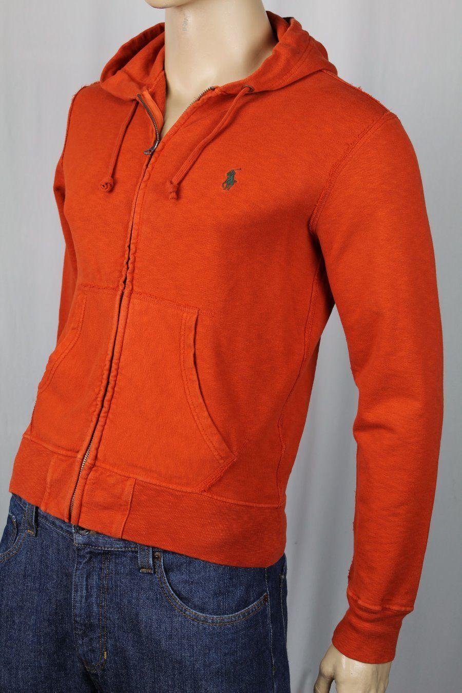 Polo Ralph Lauren Orange Hoodie Full Zip Sweatshirt Grün Pony NWT