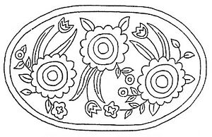 Image Is Loading Rug Hooking Pattern Primative Sunflower Oval On Natural