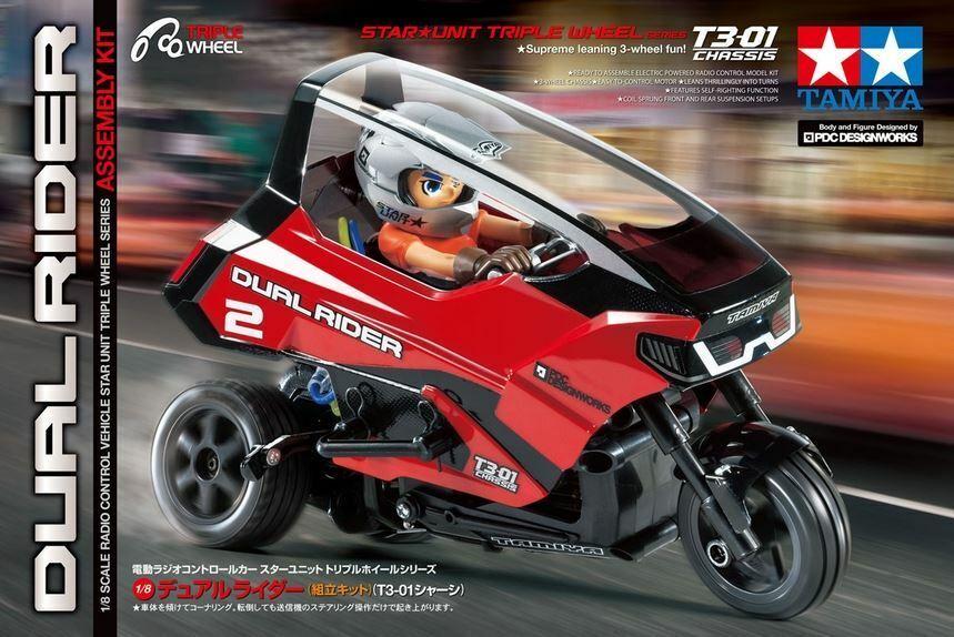 Tamiya - 1 8 Radio Control Dual Rider Trike Kit, T3-01 Chasis