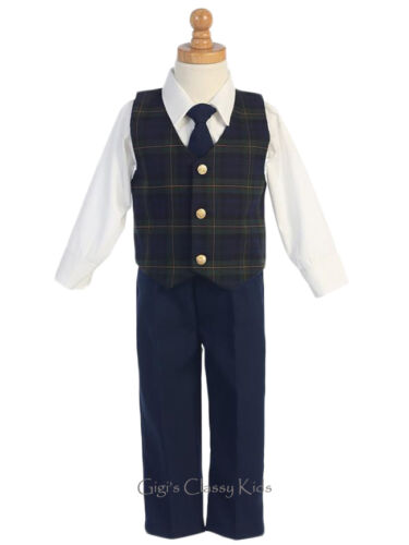 New Baby Toddler Kids Boys Green Plaid Vest Suit Christmas Holidays Pictures 565