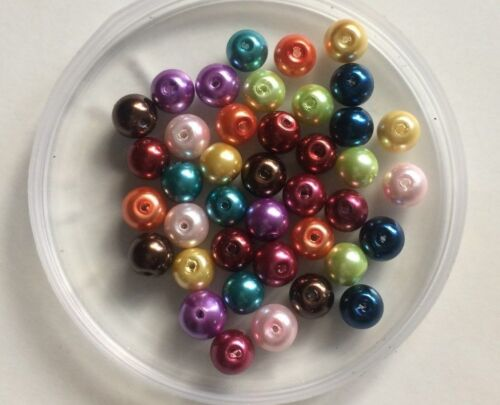 Size 8mm 11 Colours To Choose From. Round Glass Faux Pearl Beads