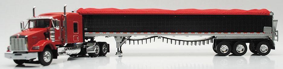 1 64 DCP RED KENWORTH T800 W  72  SLEEPER & 50' WILSON TRI AXLE BELT TRAILER