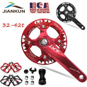 30-42t-104bcd-MTB-Road-Bike-Narrow-Wide-Crankset-Crank-Pedeal-Chainring-Guard