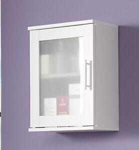 Details zu Bad Hängeschrank Badschrank weiß Glas satiniert Badezimmer  Schrank Möbel Florida