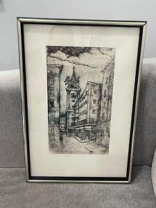 Vintage Signed Charcoal Drawing of Clocktower & European Cityscape