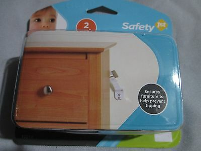 NEW Safety 1st - 2pk  White, Furniture Wall Strap, Secure Furniture To Wall