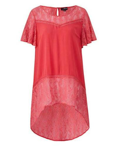 A New Lovedrobe Lace Insert Tunic Coral RRP £42