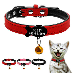 Personalized-Dog-Collars-Custom-Pet-Cat-Collar-amp-Fish-Tag-Engraved-Free-Bell-XXS-S
