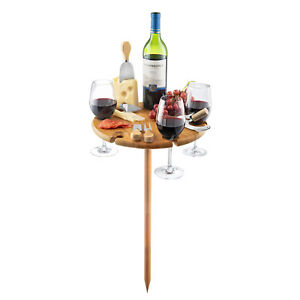 Bambusi Portable Bamboo Outdoor Picnic Wine Table Holder W Cutlery