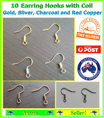 10x Gold Silver Earring Hook Hooks Coil Ball Posts Wire Jewellery Findings