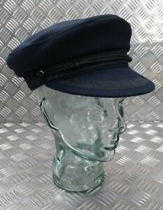 Navy Blue Wool Mix Lined Breton Type Cap Sailors Hat Peaked Boatman's Cap