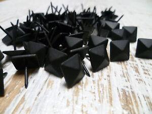 Upholstery-Nails-Furniture-Studs-Tacks-16mm-Matte-Black-Diamond-50-Count
