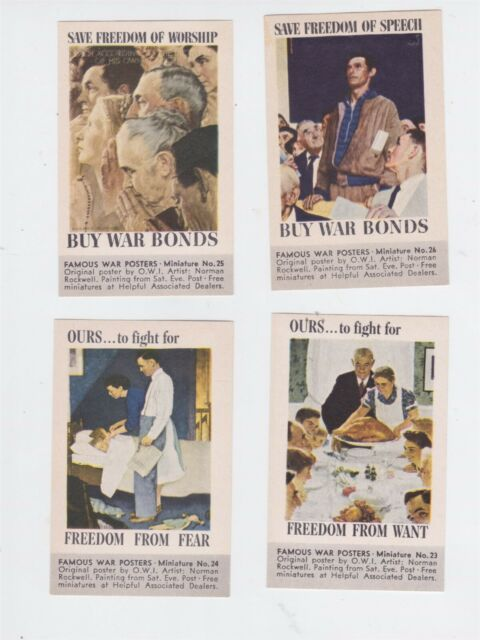 ORIGINAL WW II ROCKWELL 4 FREEDOMS POSTER STAMPS #23-26 TIDEWATER OIL CO