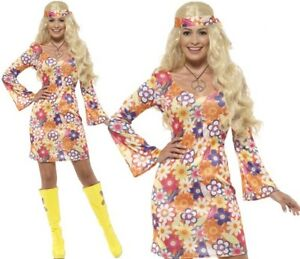Smiffy/'s Hippy Lady Fancy Dress Costume 1960/'s Flower Power Party Outfit