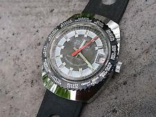 Vintage 1970´s NOS Duxot World Time Swiss Made Date Watch 17 Juwels Black