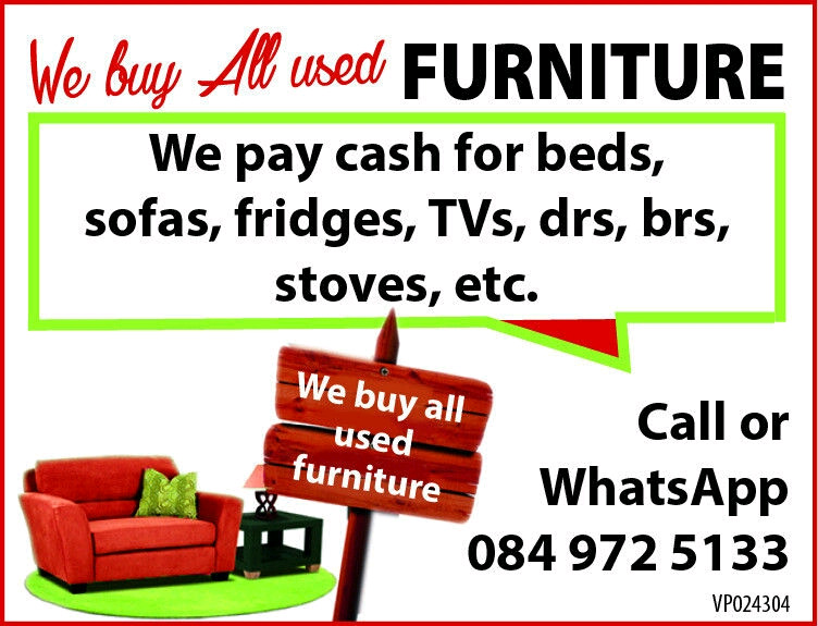 We buy and sell all used household furniture.