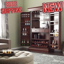 Home Bar Cabinet Wine Liquor Storage Rack Furniture Bottle Buffet Pub Wood  Brown