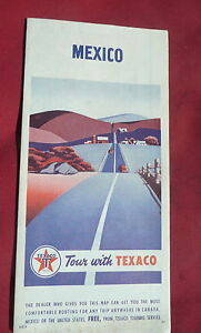 1954 Mexico road map Texaco oil gas Hemishpere highway Central ...