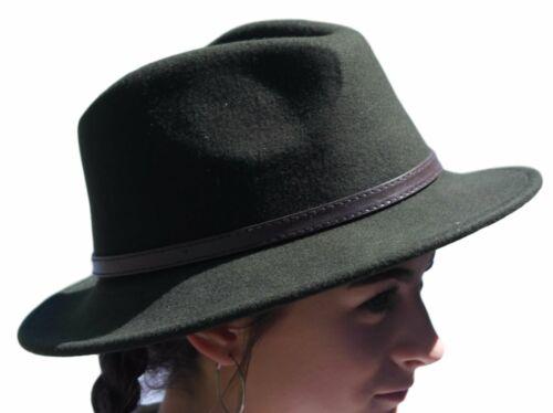 High quality olive green wide brim 100/% wool felt fedora trilby hat Large