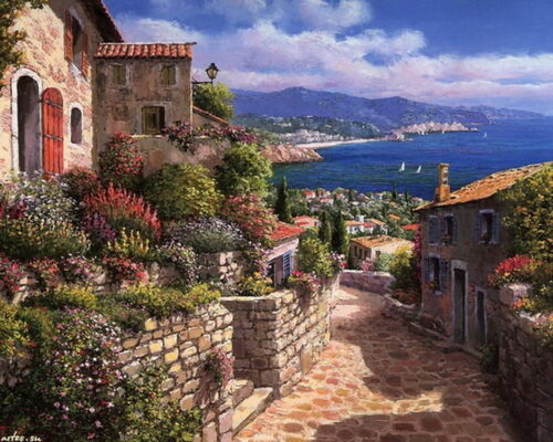 Modern Home Wall Art Mediterranean Sea Scenery Oil Painting Printed On Canvas