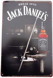 Jack-Daniels-Snooker-Pool-Metal-Lata-signos-Pub-Bar-garaje-Snooker-Pool