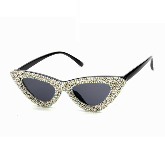 a512a981b422 Small Diamond Rhinestone Sunglasses Bling Fashion Sunnies Cateye Ladies  Shades
