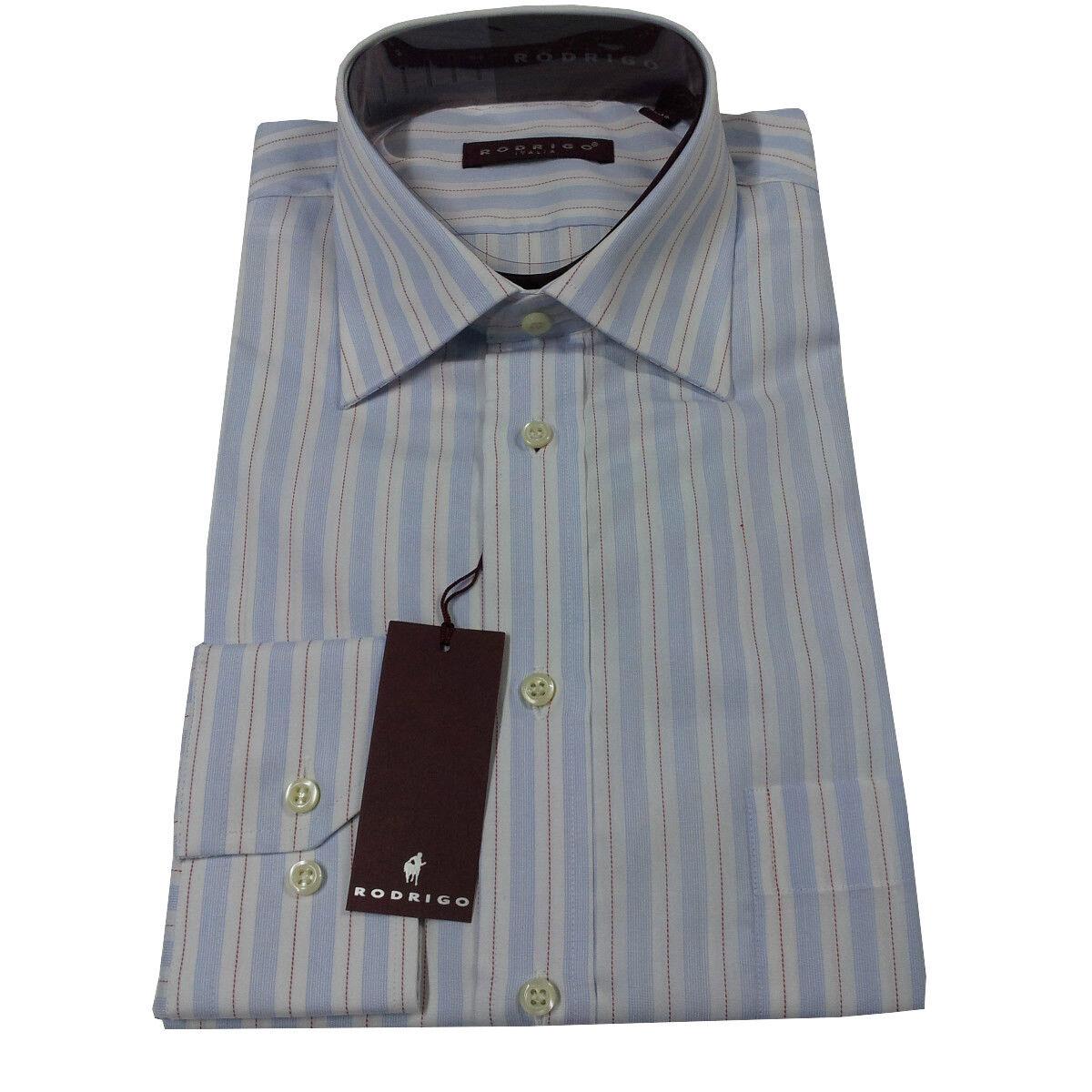 RODRIGO camisa de hombre celeste estriado con bolsillo 100 %  algodón  60% de descuento