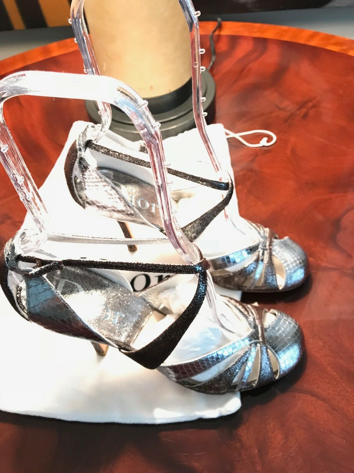 Christian Dior Silver Metalics Strappy shoes  Size 38.5 - New RTL  795.00