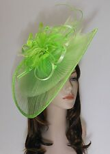 New Church Derby Wedding Pleated Fascinator Dress Hat Headband 2450 Lime Green