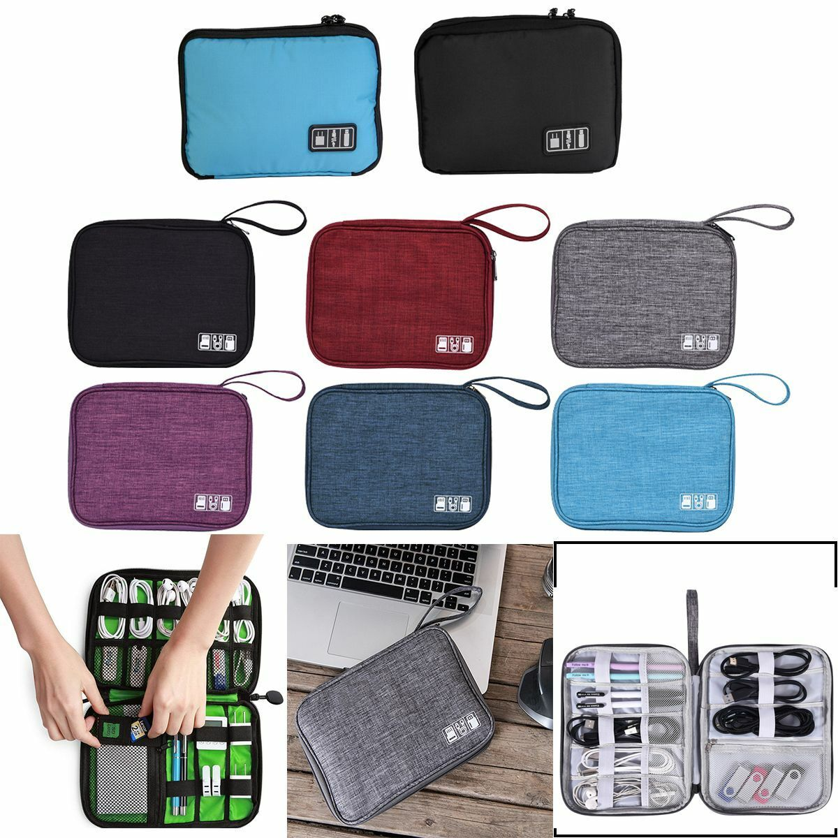 Electronic Organizer Power Bank Tablet Up to 7.9 BAGSMART Large Cable Storage Bag Travel with Removable Grid-IT Organzier for Cables Adpater