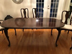 Details About Ethan Allen Queen Anne Solid Cherry Dining Table And Chairs Set