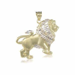 10K-Solid-Yellow-White-Gold-Lion-Pendant-Diamond-Cut-Necklace-Charm-Men-Women
