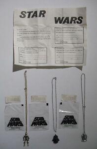 RARE-Vintage-Star-Wars-Mailaway-Necklace-Lot-Darth-Vader-C-3PO-R2-D2-Mint-In-Bag