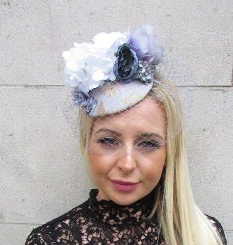 Grey White Floral Rose Birdcage Veil Flower Fascinator Hat Races Hair Vtg 5819