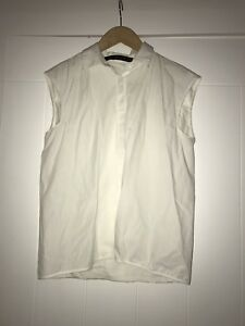 9598a8c217514 Image is loading ZARA-LADIES-WHITE-SHIRT-WITH-PLEAT-DETAIL-SIZE-