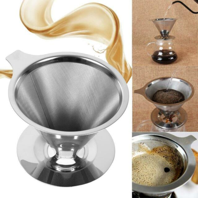 Reusable Coffee Filter Holder Pour Over Coffees Dripper Mesh Tea Filter BasketNS
