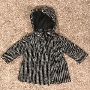 7142fc52a Old Navy Girls Winter Black   White Gingham Pea Coat Jacket Sz 12 ...