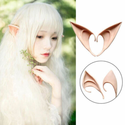 1 Pair Soft Artificial Elf Ears Halloween Prop Cosplay Club Party Supply Uk Stk